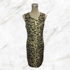 Louben   Cheetah Print Shiny Midi Dress